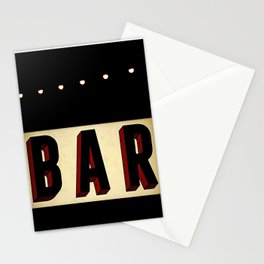 Retro Bar Sign with light bulbs Stationery Cards