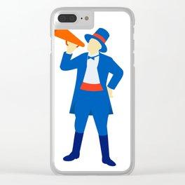 Ringmaster Shouting Bullhorn Retro Clear iPhone Case