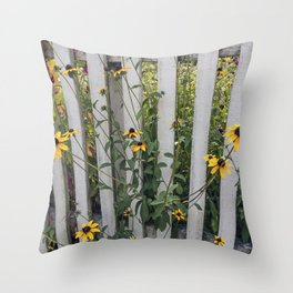 Fenced In Black Eyed Susans Throw Pillow