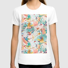 Colorful, Vibrant Paradise Birds and Leaves T-shirt