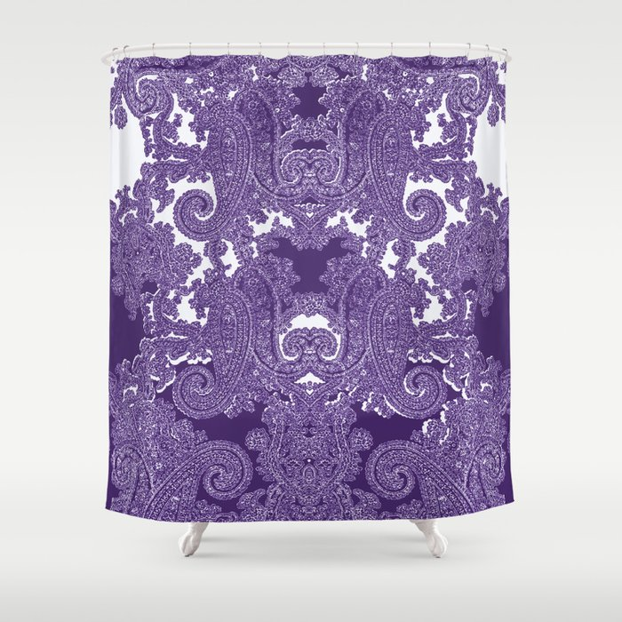 Paisley Vine In Deep Purple Shower Curtain