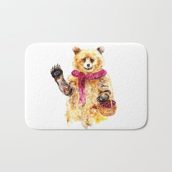 Bear says Hello Bath Mat