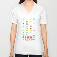 chaos V-neck T-shirts featuring Chaos by Slippytee Clothing