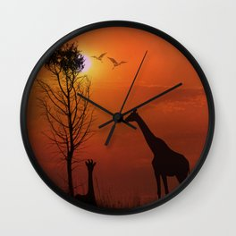Sunset on the Plaines Wall Clock