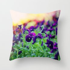 Rainbow of Flowers Throw Pillow