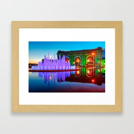 Kansas City Union Station Fountain Dusk Colors Framed Art Print