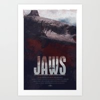 jaws Art Prints featuring Jaws by Duke Dastardly