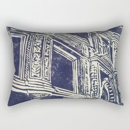 victorian house facade detail linocut print Rectangular Pillow