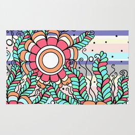 Doodle Art Three Flowers Vines with Stripes Rug