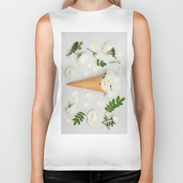 White Roses in Waffle Cone Biker Tank