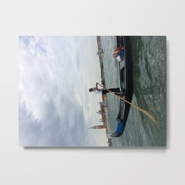 Venetian Gondolier Break Metal Print