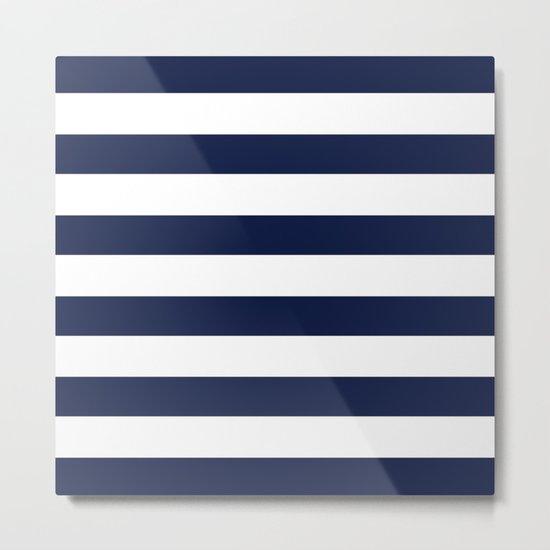 Simply Stripes Nautical Navy on White Metal Print