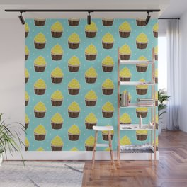 Lemon Cupcakes with Frosting Pattern Wall Mural