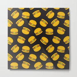 Burger Pattern  Everett co Metal Print