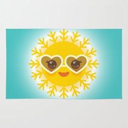 Kawaii funny sun with sunglasses pink cheeks and eyes. Hot summer day Rug