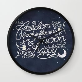 Oscar Wilde Moon Books Quote Calligraphy Stars Wall Clock