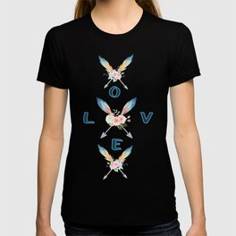 Watercolor Roses Arrows Love Typography T-shirt