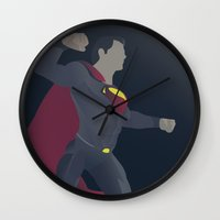 superman Wall Clocks featuring Superman by Poly Iconik Art