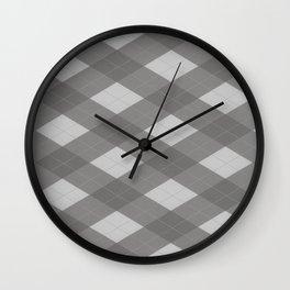 Pantone Pewter Gray Argyle Plaid Diamond Pattern Wall Clock