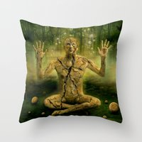 the cure Throw Pillows featuring Magic forest cure by teddynash