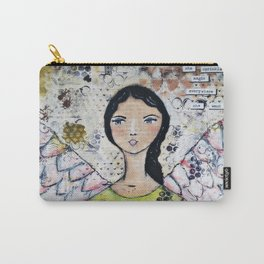 Original Mixed Media Angel of Magic Carry-All Pouch