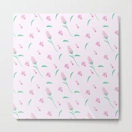 Modern blush pink coral green abstract floral illustration Metal Print
