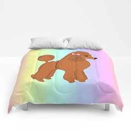 Red Poodle with Pastel Rainbow Comforters