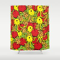 monsters Shower Curtains featuring Monsters by Nastya Bo