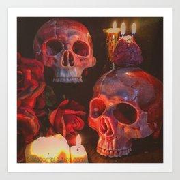 Catacomb Culture - Rose Skull Candle Art Print