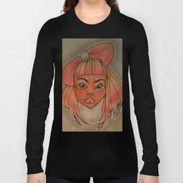 pink black gothic girl Long Sleeve T-shirt