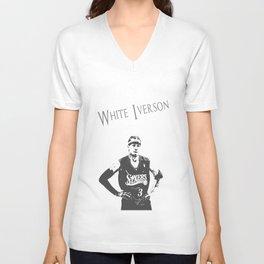 White Iverson Unisex V-Neck