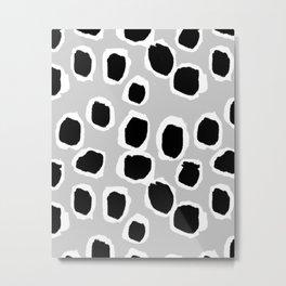 Tess - black and white grey minimal modern abstract dots painting brushstrokes free spirit ink  Metal Print