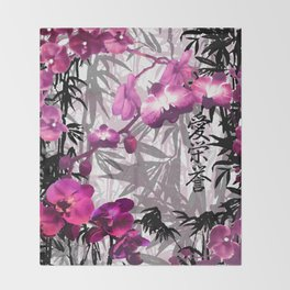 Bamboo Orchids Throw Blanket
