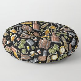 Beer Makes The World Go Round - Black Pattern Floor Pillow