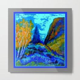 Western Golden Aspens Blue Mountain Landscape Art Metal Print