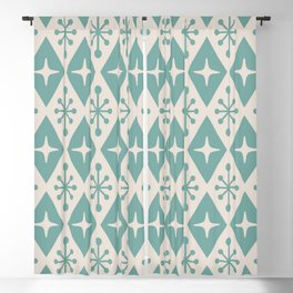 Mid Century Modern Atomic Triangle Pattern 710 Green and Beige Blackout Curtain