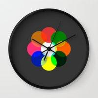 daria Wall Clocks featuring Us And Them by Deepti Munshaw