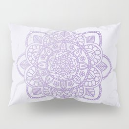 Lavender Mandala on White Marble Pillow Sham