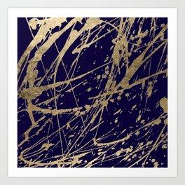 Elegant faux gold modern navy blue paint splatters Art Print