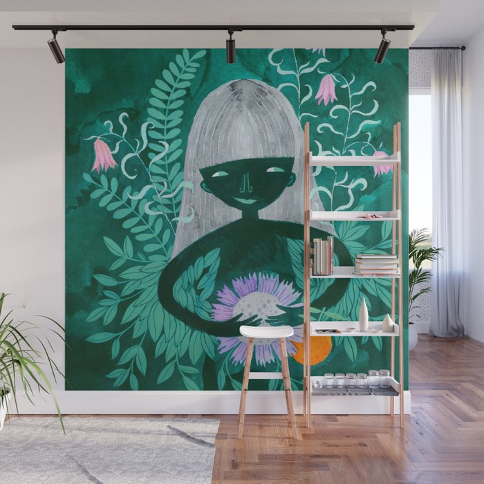 green women with plants and flowers watercolor illustration Wall Mural