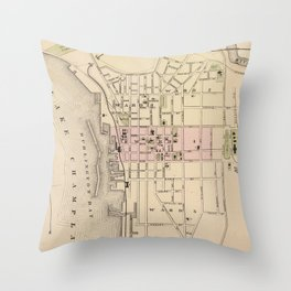 Vintage Map of Burlington Vermont (1873) Throw Pillow