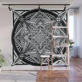 Geometric Square Black & White Mandala Wall Mural