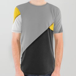 Simple Modern Gray Yellow and Black Geometric All Over Graphic Tee