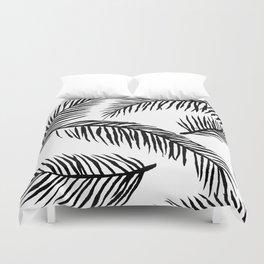 Black & White Palm Leaves Duvet Cover