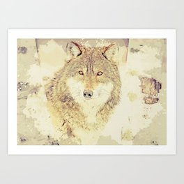 wolf digital art Art Print
