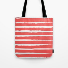 Irregular Hand Painted Stripes Coral Red Tote Bag