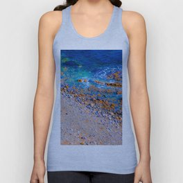 blue water at the ocean with rock and stone in summer Unisex Tank Top