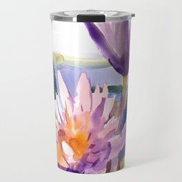 Water Lily,  Lotus, Asian Ink drawing Zen brush pink purple flower Travel Mug