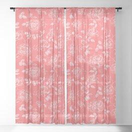 Elegant Modern Coral Floral Rose Collection Sheer Curtain