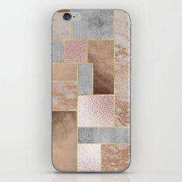 Copper and Blush Rose Gold Marble Quadrangle Geometrical Shapes iPhone Skin